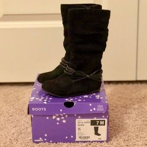 Black faux suede slouch knee high boots size 7M
